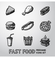 set freehand fast food icons - sandwich vector image