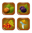 set of food forest icons vector image