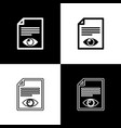 set paper page with eye symbol icons isolated on vector image