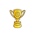 sketch golden cup trophy isolated vector image vector image