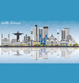 south america skyline with famous landmarks and vector image