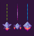 space pixel game spaceship with lasers weapon vector image vector image