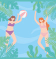 summer pool with girls playing ball playful time vector image