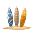 Surfboards stuck in the sand vector image vector image