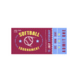 template softball ticket vector image