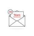 thin line 70 years anniversary logo like open vector image vector image