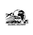 transport truck emblems on white background vector image