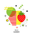 trendy style geometric pattern with strawberry vector image vector image