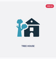 two color tree house icon from real estate vector image