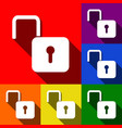 unlock sign set of icons vector image vector image