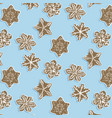 winter snoflake cookie pattern cute brown vector image