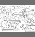 farm animals and rural landscape coloring vector image