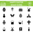 happy easter solid icon set vector image