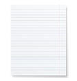 Notebook lined paper sheet isolated vector image