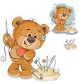 a teddy bear sewing vector image