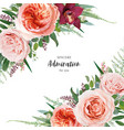 beautiful floral art wedding invite greeting card vector image vector image