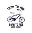 bicycle print design with slogan vector image