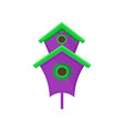 bright purple nesting box with green roof big vector image vector image