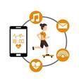 cartoon woman riding skateboard sport mobile phone vector image