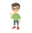 caucasian little boy showing ok sign vector image vector image