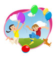 children playing in the park with balloons vector image