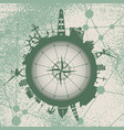 circle with cargo port and travel relative image vector image vector image