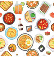dinner lunch and fast food seamless pattern vector image vector image