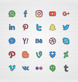 doodle social media icon set vector image