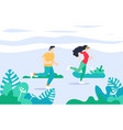 exercise people in the park for a healthy life vector image vector image