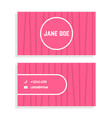 female business card with pink stripes vector image vector image