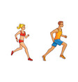 flat girl and man running vector image