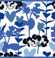 floral pattern with hearts and shapes plants vector image vector image