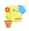 Flower and watering can vector image vector image
