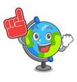 foam finger globe mascot cartoon style vector image