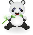 Funny panda eating bamboo vector image vector image