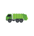 green garbage truck graphic design template vector image