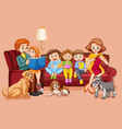 happy family in living room vector image vector image