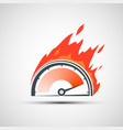 icon speedometer on fire rating scale with arrow vector image