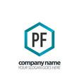 initial letter pf hexagon box creative logo black vector image vector image