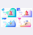 merger and acquisition landing page template set vector image