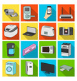 modern household appliances flat icons in set vector image