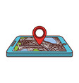 navigation gps device and city map with pins vector image vector image