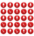office chair icons set vetor red vector image