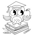 owl on a stack books with graduation hat vector image