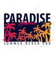 paradise discover graphic with palms t-shirt vector image