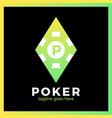 poker casino logo - red rhomb vector image