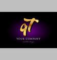 qt q t 3d gold golden alphabet letter metal logo vector image vector image