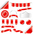 red ribbons flag and labels set isolated on white vector image