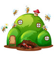 scene with ant and bees on hill house vector image vector image