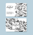 seafood hand drawn business card crab vector image vector image